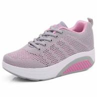 Grey flyknit hollow out rocker bottom shoe sneaker 01