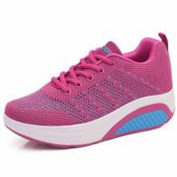 Rose red flyknit hollow out rocker bottom shoe sneaker 01