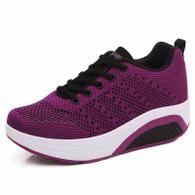 Purple flyknit hollow out rocker bottom shoe sneaker 01