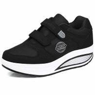 Black double velcro rocker bottom shoe sneaker 01