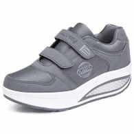 Grey double velcro rocker bottom shoe sneaker 01
