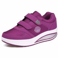 Purple double velcro rocker bottom shoe sneaker 01