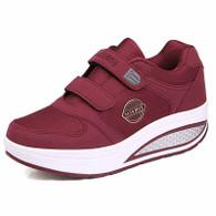 Red double velcro rocker bottom shoe sneaker 01