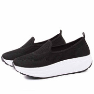 Black texture flyknit slip on rocker bottom shoe sneaker 01