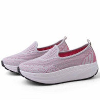 Grey texture flyknit slip on rocker bottom shoe sneaker 01