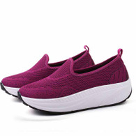 Purple texture flyknit slip on rocker bottom shoe sneaker 01