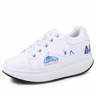 White mix pattern print rocker bottom shoe sneaker 01