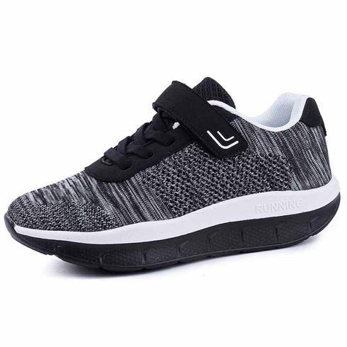Black flyknit stripe lace velcro rocker bottom shoe sneaker 01