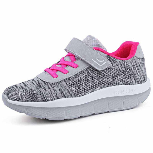 grey flyknit stripe lace velcro rocker bottom shoe sneaker 01