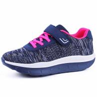 Navy flyknit stripe lace velcro rocker bottom shoe sneaker 01