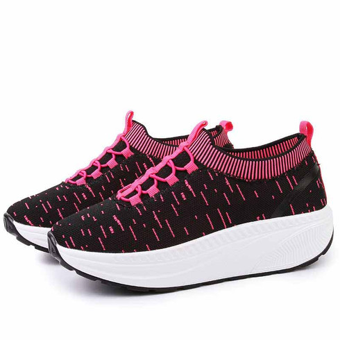 Black pink stripe slip on rocker bottom shoe sneaker 01
