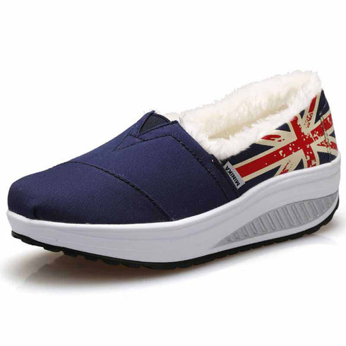 Navy winter pattern slip on rocker bottom shoe sneaker 01