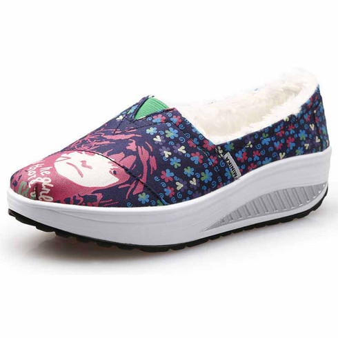 Navy floral slip on winter rocker bottom shoe sneaker 01