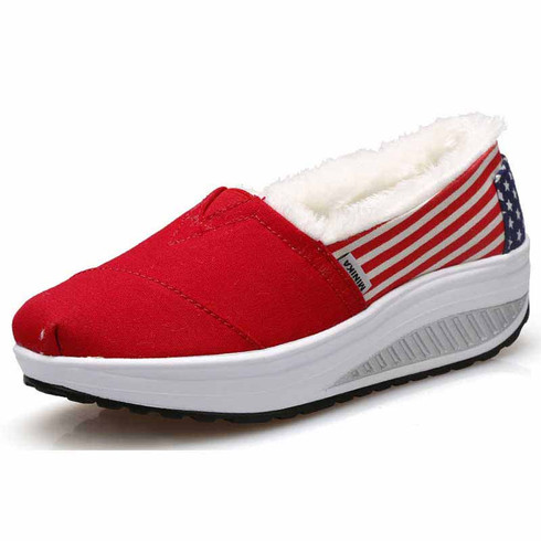 Red pattern slip on winter rocker bottom shoe sneaker 01