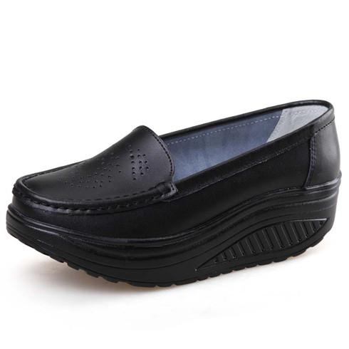 Black hollow out slip on rocker bottom shoe sneaker 01