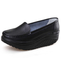 Black hollow out slip on rocker bottom shoe sneaker 01