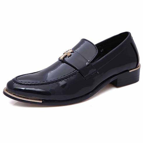 Black metal patent leather slip on dress shoe 01