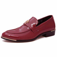 Red metal patent leather slip on dress shoe 01
