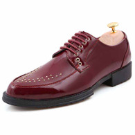 Red rivet patent leather derby dress shoe 01