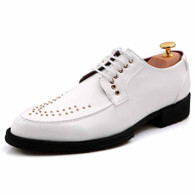 White rivet patent leather derby dress shoe 01