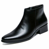 Black plain zip slip on dress shoe boot 01