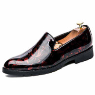 Black red floral patent leather slip on dress shoe 01