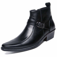 Black buckle design zip slip on dress shoe boot 01