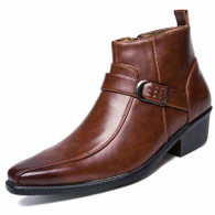 Brown buckle design zip slip on dress shoe boot 01