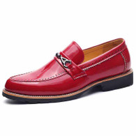 Red buckle rivet patent leather slip on dress shoe 01