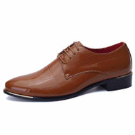 Brown check patent leather derby dress shoe 01