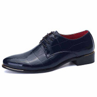 Navy check patent leather derby dress shoe 01