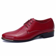 Red check patent leather derby dress shoe 01