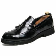 Black tassel patent leather slip on dress shoe 01