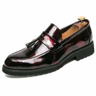 Red tassel patent leather slip on dress shoe 01