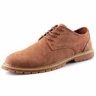 Brown retro leather derby dress shoe 01