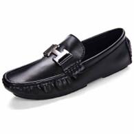 Black metal buckle leather slip on shoe loafer 01