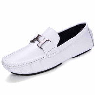 White metal buckle leather slip on shoe loafer 01