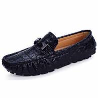 Black crocodile pattern buckle slip on shoe loafer 01