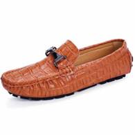 Brown crocodile pattern buckle slip on shoe loafer 01