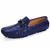 Blue crocodile pattern buckle slip on shoe loafer 01