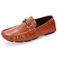 Brown check buckle leather slip on shoe loafer 01