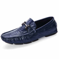 Blue check buckle leather slip on shoe loafer 01