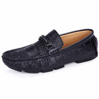 Black check buckle leather slip on shoe loafer 01