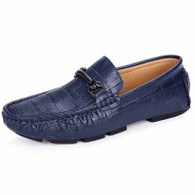 Navy check buckle leather slip on shoe loafer 01
