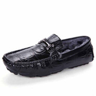 Black buckle winter leather slip on shoe loafer 01