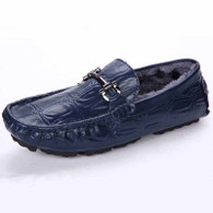 Blue buckle winter leather slip on shoe loafer 01