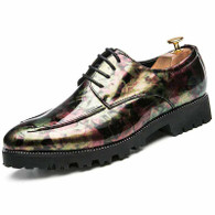Green camo patent leather derby dress shoe 01