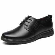 Black metal decorated leather derby dress shoe 01