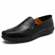 Black crumple leather slip on shoe loafer 01