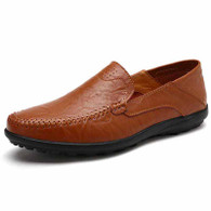 Red brown crumple leather slip on shoe loafer 01